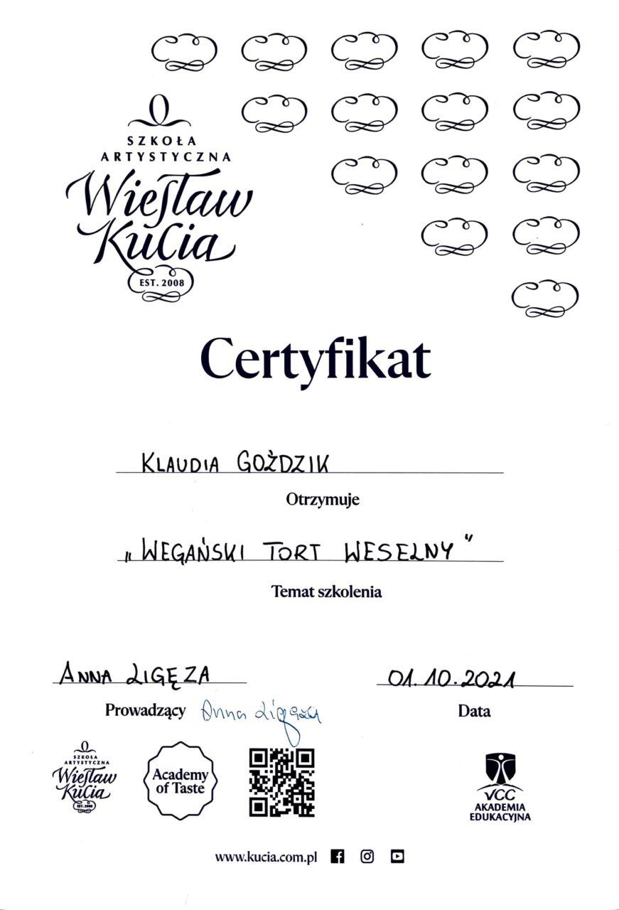 certyfikat Wegański Tort Weselny Klaudia Goździk
